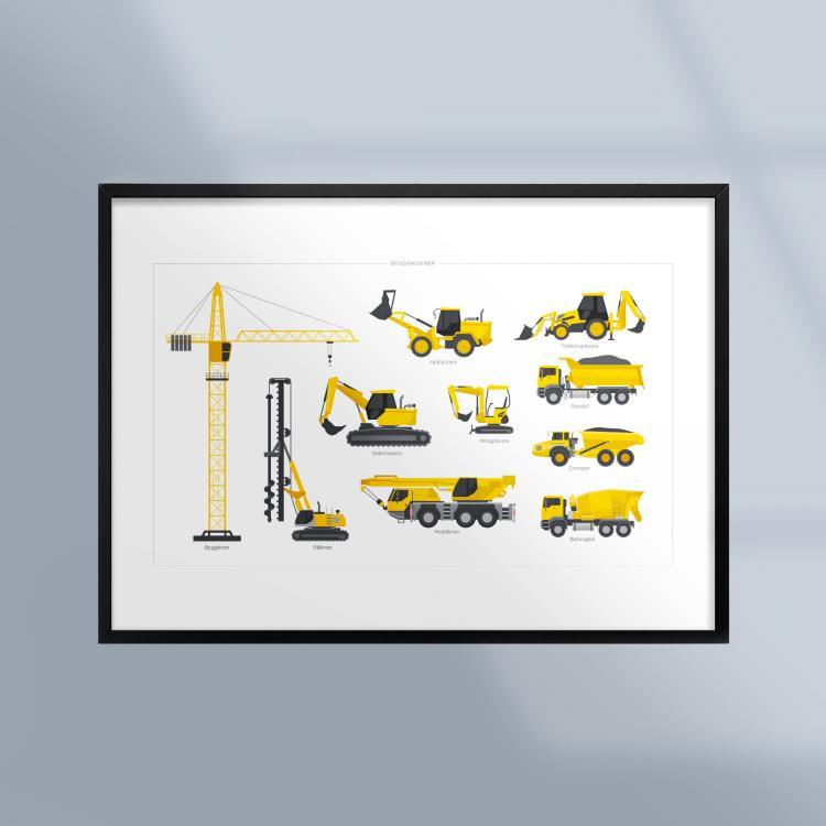 Poster-Tavla-Fordon-Byggmaskiner-Ram-Kunskapat