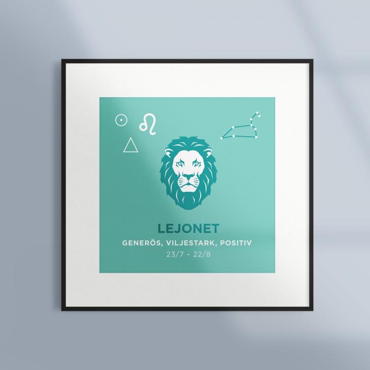 Poster-Tavla-Stjarntecken-Lejonet-Turkos-Ram