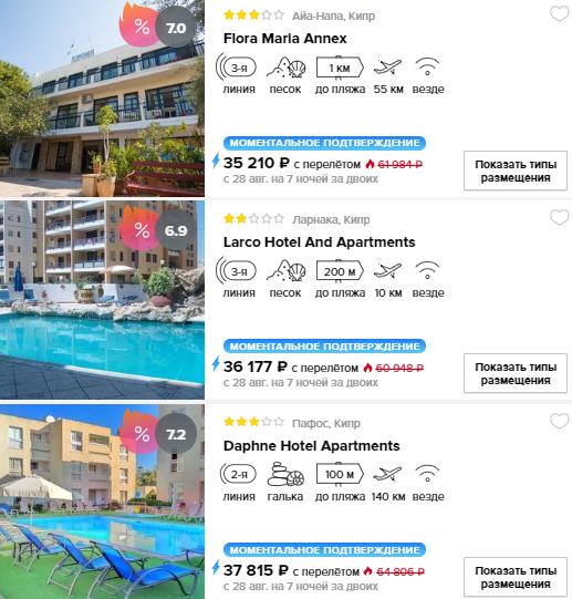 Горящие туры  Кипр цена