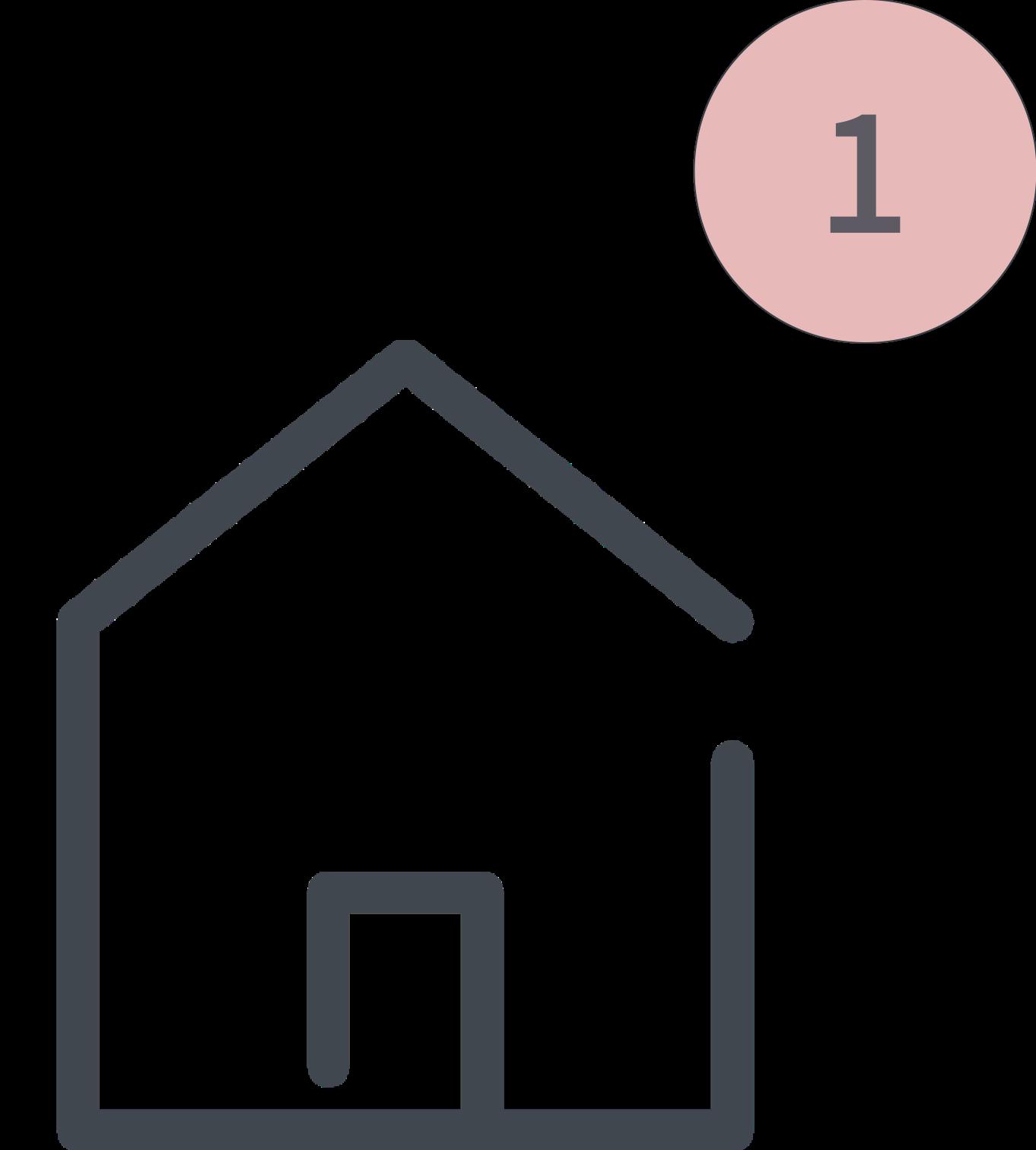 Das Bild zeigt einen Icon für den 1. Schritt der Tiny House Beratung. Zu sehen ist ein kleines Haus.