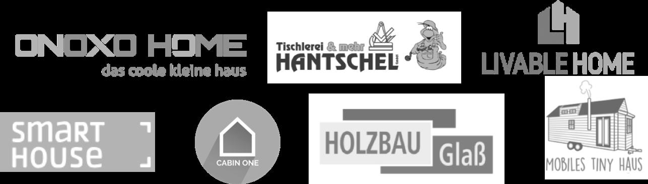 Das Bild zeigt die unterschiedlichen Tiny House Anbieter mit denen LIVEE zusammenarbeit. Zu sehen sind die Logos von verschiedenen Tiny House Herstellern.