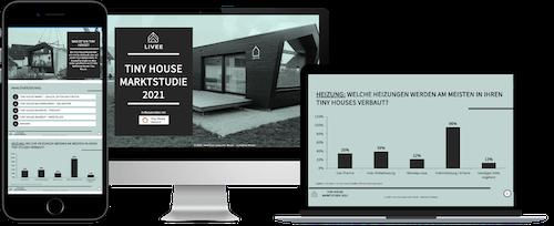 Das Bild zeigt einen Einblick in die Tiny House Marktstudie. Zu sehen sind Grafiken und Inhalte der Studie
