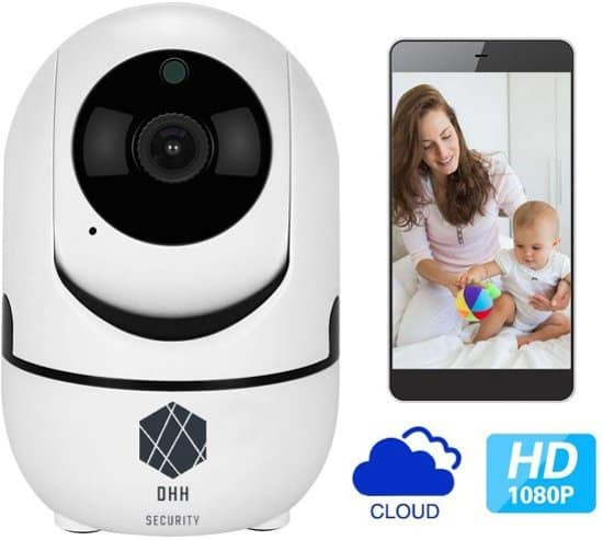 Onze Best Verkochte & Beveiligde Babyfoon van DHH Security© van Elite Quality, WiFi Security Camera, Motion en Geluid Detectie, Nachtvisie, 1080p, Two-Way Audio, iOS + Android App Besturing, SD Card + Cloud Storage, Draadloze Beveiligingscamera,