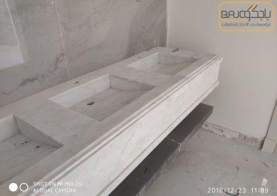 تفصيل وتركيب مغاسل رخام بحوض شلال (3)