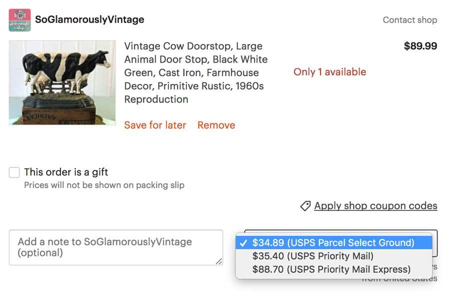 Etsy Shipping Screenshot - Priority Versus Parcel Select