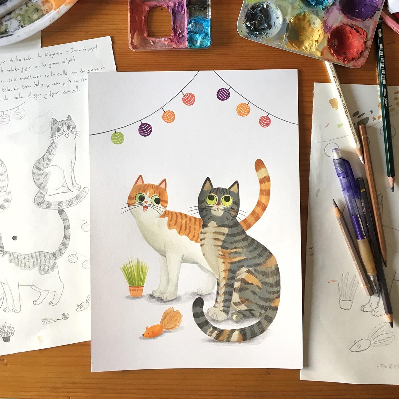 ilustracion de gatos, dibujo de gatos, ilustracion infantil de gatos, retrato de gato personalizado, retrato de mascota personalizado, Mar Villar, retratos de gatos, ilustracion personalizada de gato, ilustración personalizada de mascota, regalar ilustración personalizada de gato, regalar ilustración personalizada de mascota, retratos personalizados de mascotas,