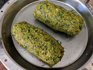 Steaming the kothimbir Vadi dough