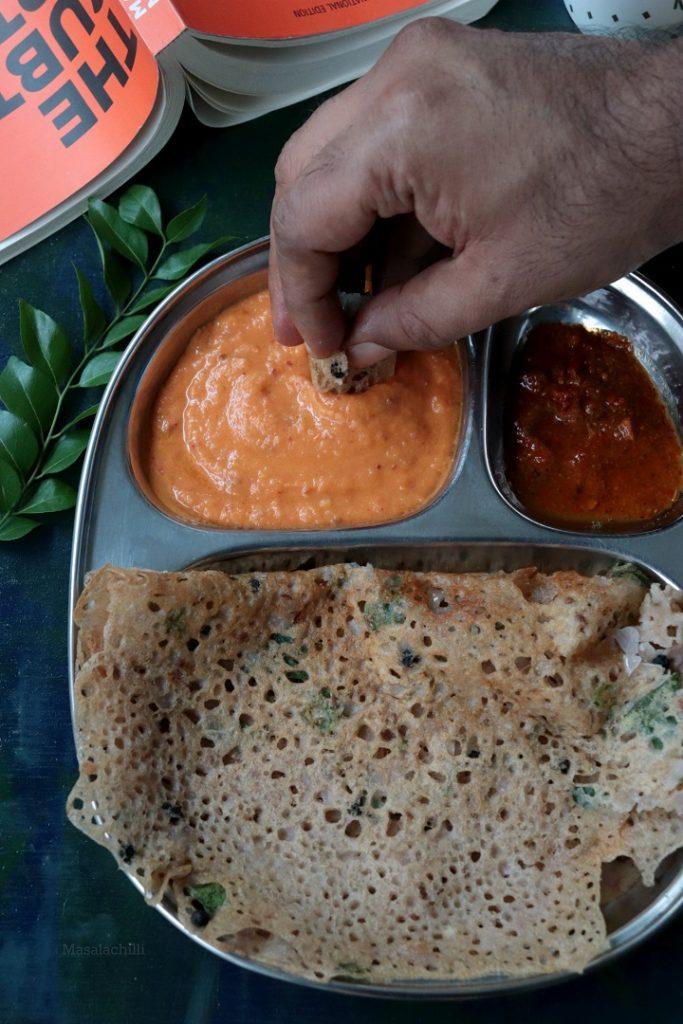 Ragi Rava Dosa served with podi and chutney