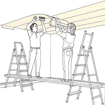 Наклеить обои на потолок