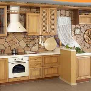 Необычная отделка стен на кухне