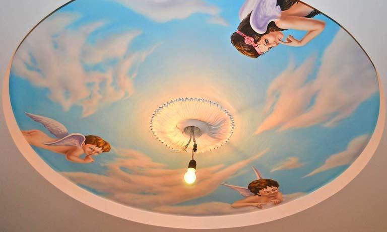 Обои на потолок с эффектом 3d