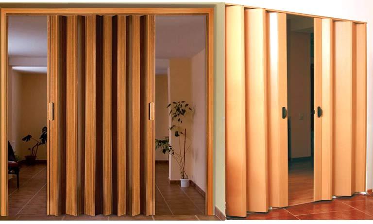 Разновидности складных межкомнатных дверей гармошка