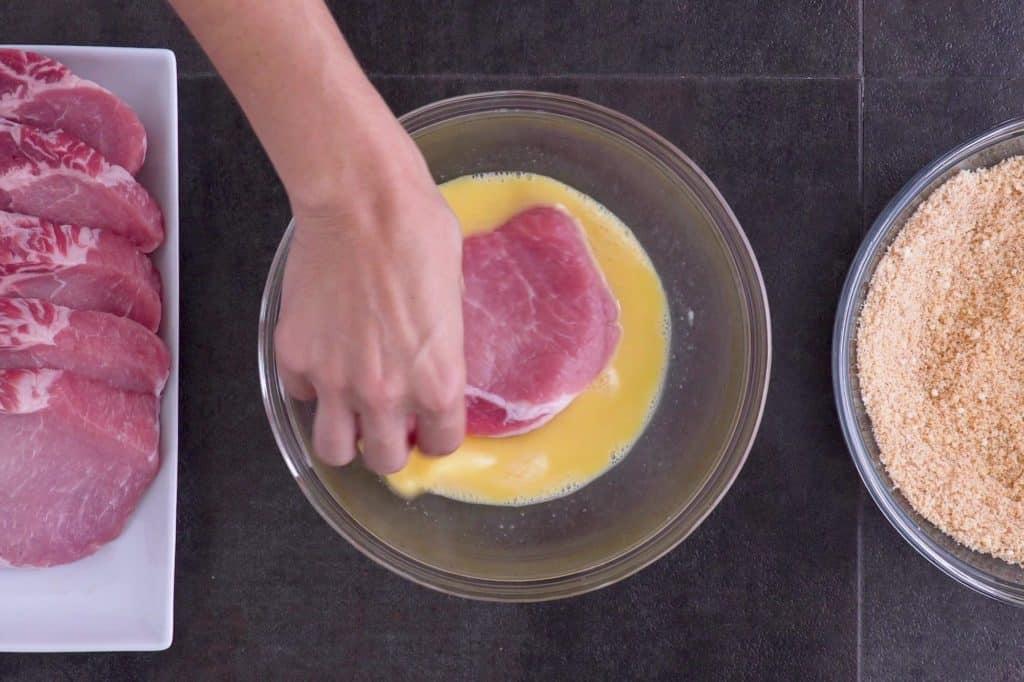 Dredge Pork Chops in Eggs