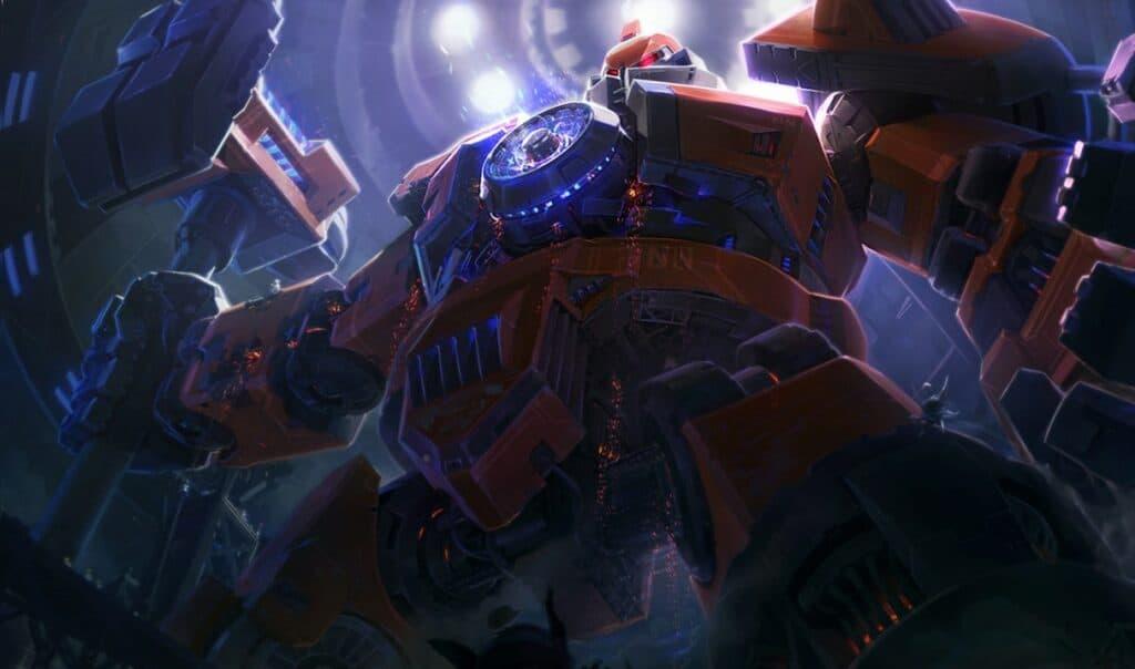 Mecha Zero Sion skin Splash Art in League of Legends.