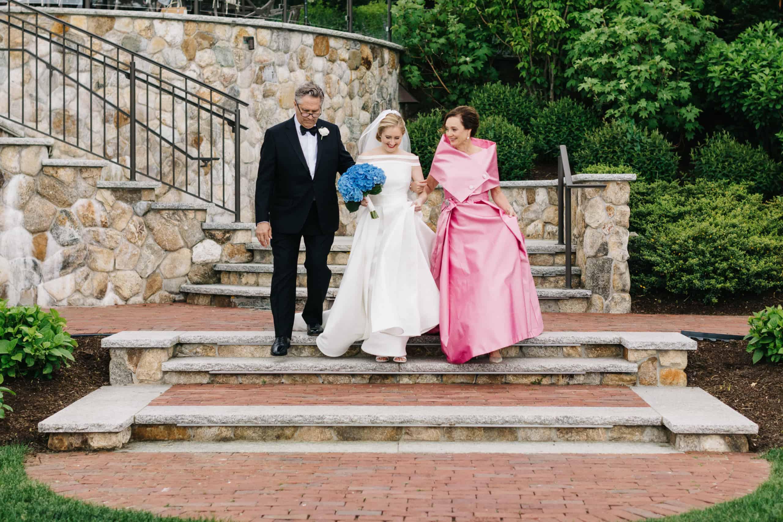 Cape Cod Wequassett Resort and Golf Club Wedding parents walking bride