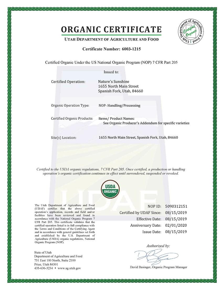 Компания получила сертификат Органик, подтверждающий соответствие нашего производства стандартам национальной органической программы США!