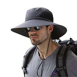 3. Men's waterproof Sun hat Outdoor un protection Bucket safari Cap