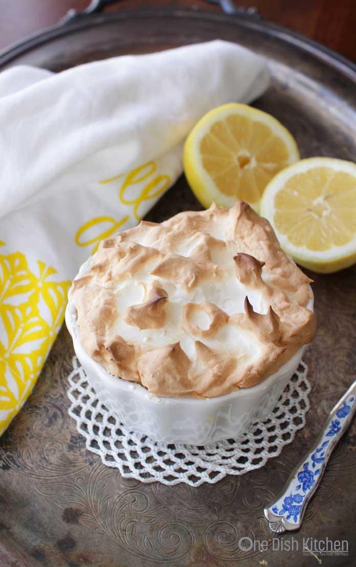 Lemon Meringue Pie For One baked in a ramekin. | One Dish Kitchen