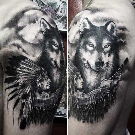 Волка тату и индеец
