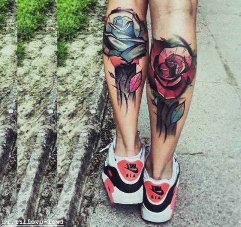 ноге тату розы