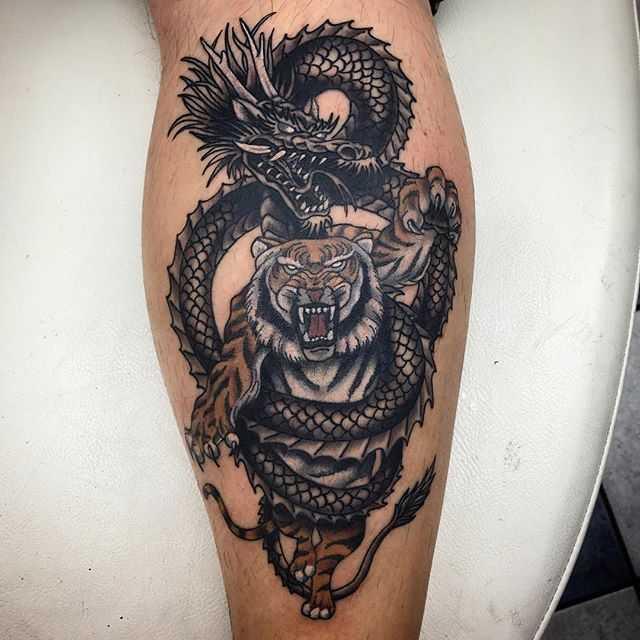 тигр тату дракон
