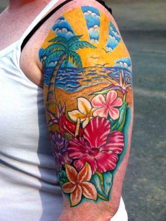 Цветы тату на плече