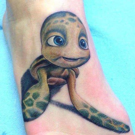 Черепаха, тату на ступне