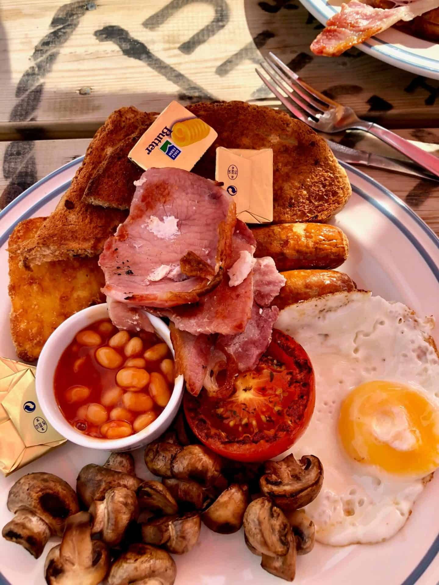 Full English breakfast at Poldhu Beach Cafe