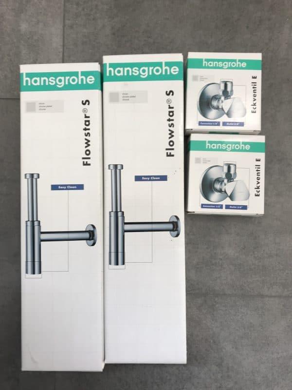 2 Hansgrohe Designsyphons/ 2 Eckventile