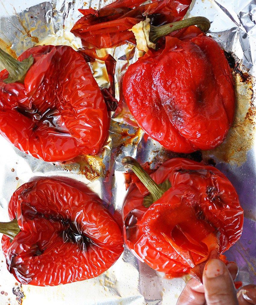 Peeling Roasted Red Tomatoes