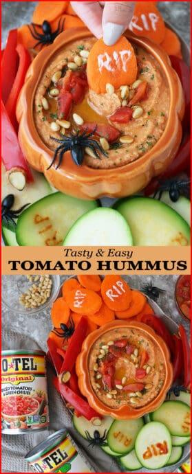 Easy Tasty Spicy Tomato Hummus For Halloween