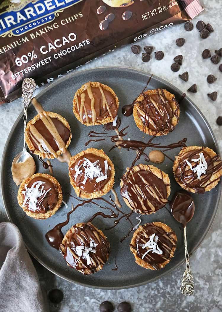 Decadent Chocolate Almond Tarts Gluten Free with Ghirardelli