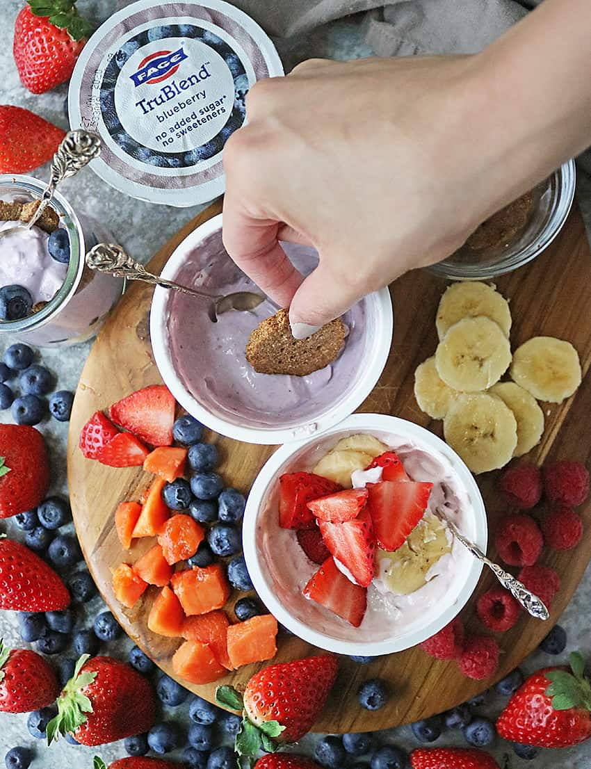 Platter with Fruit Cracker Parfaits With Fage-TruBlend