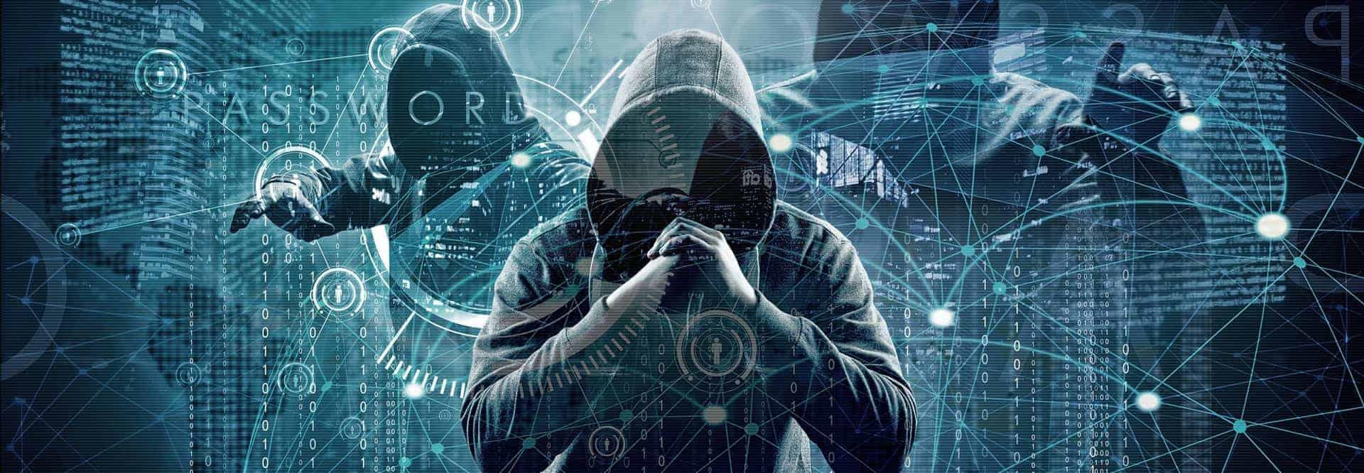Titelbild IT-Security und Netzwerksicherheit, zwei Männer mit Kapuzenpullover