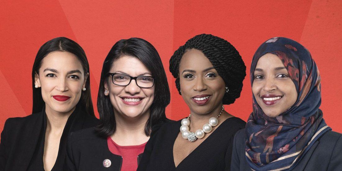 Alexandria Ocasio-Cortez, Rashida Tlaib, Ayanna Pressley, and Ilhan Omar