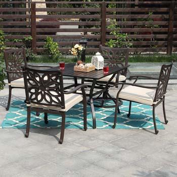 8. PHI Villa Outdoor Patio Cast Aluminum Extra Wide Chairs