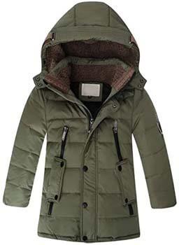4. Mallimoda Boys' Hooded Down Coats Winter Warm Jacket Solid Puffer Coat