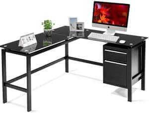 3. INTERGREAT Black L Shaped Computer Office Desk