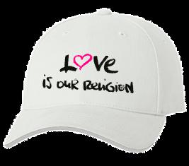 Печать на кепке промо Love religion, Печать на футболках, чашках, кепках. Индивидуальный дизайн
