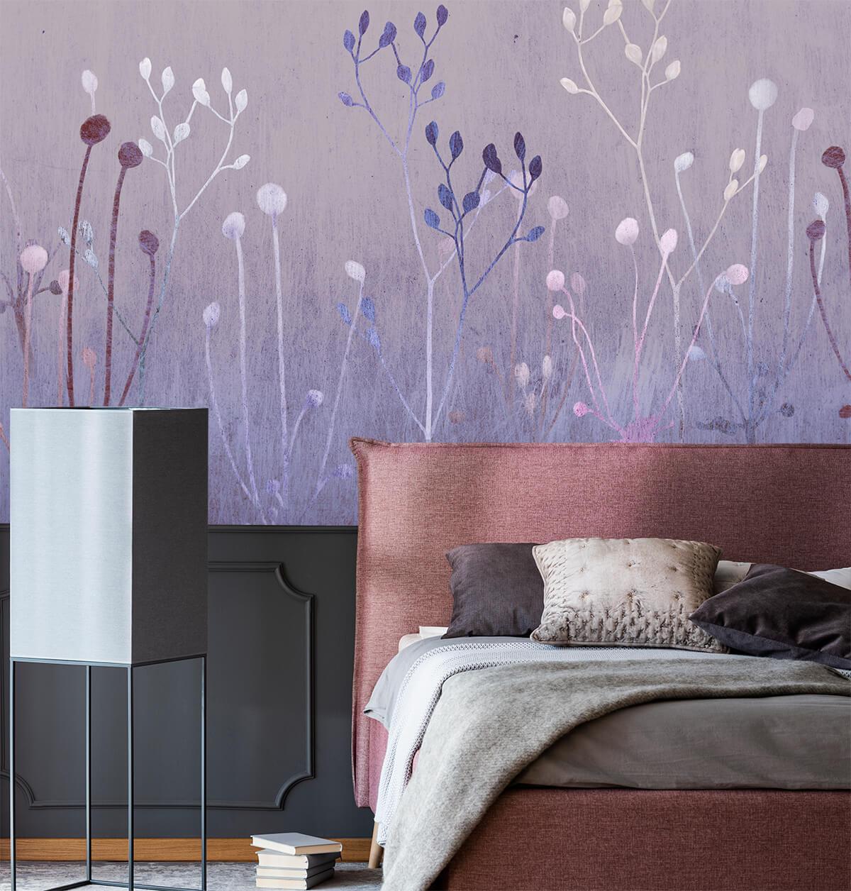 Aranżacja sypialni - Tapety z roślinami - Lawendowe Noce
