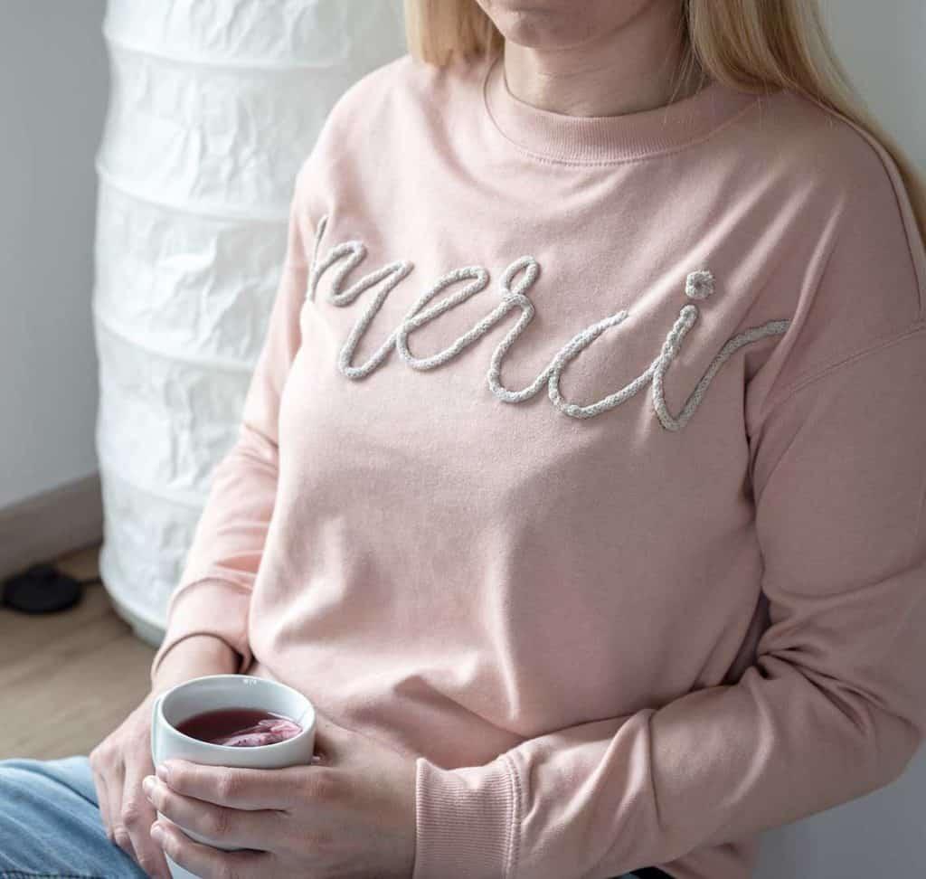 Merci-Sweatshirt DIY-Muttertagsgeschnek