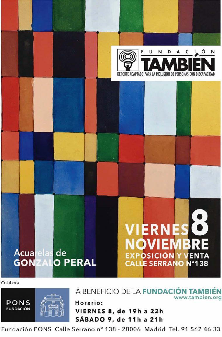 """Cartel de la exposición """"Acuarelas"""" de Gonzalo Peral a beneficio de la Fundación También"""