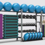 Стелаж для хранения фитнес аксессуаров