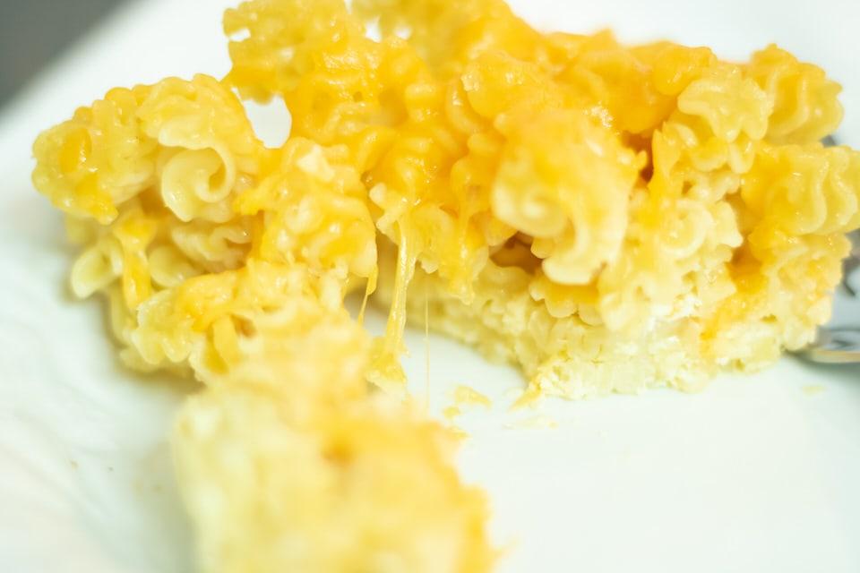 closeup of macaroni and cheese
