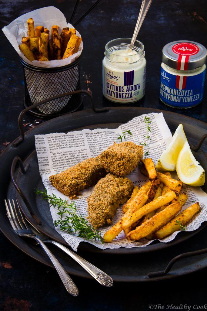 Συνταγή για πεντανόστιμα και υγιεινά fish & chips μαγειρεμένα στον φούρνο - Healthy and delicious baked fish & chips recipe