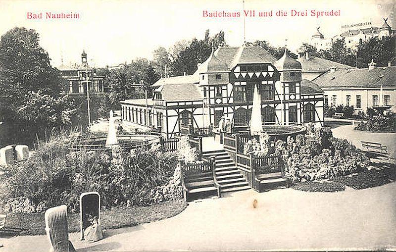 erste Badehäuser Bad Nauheim und Sprudel um 1900