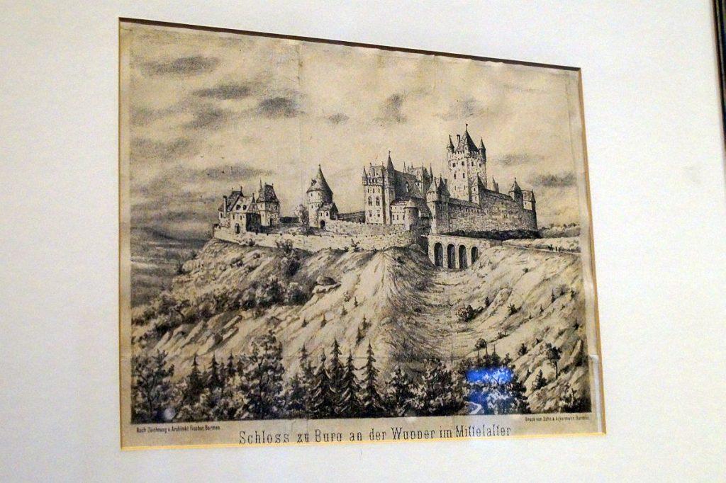 mittelalterliche Ansicht von Schloss Burg an der Wupper