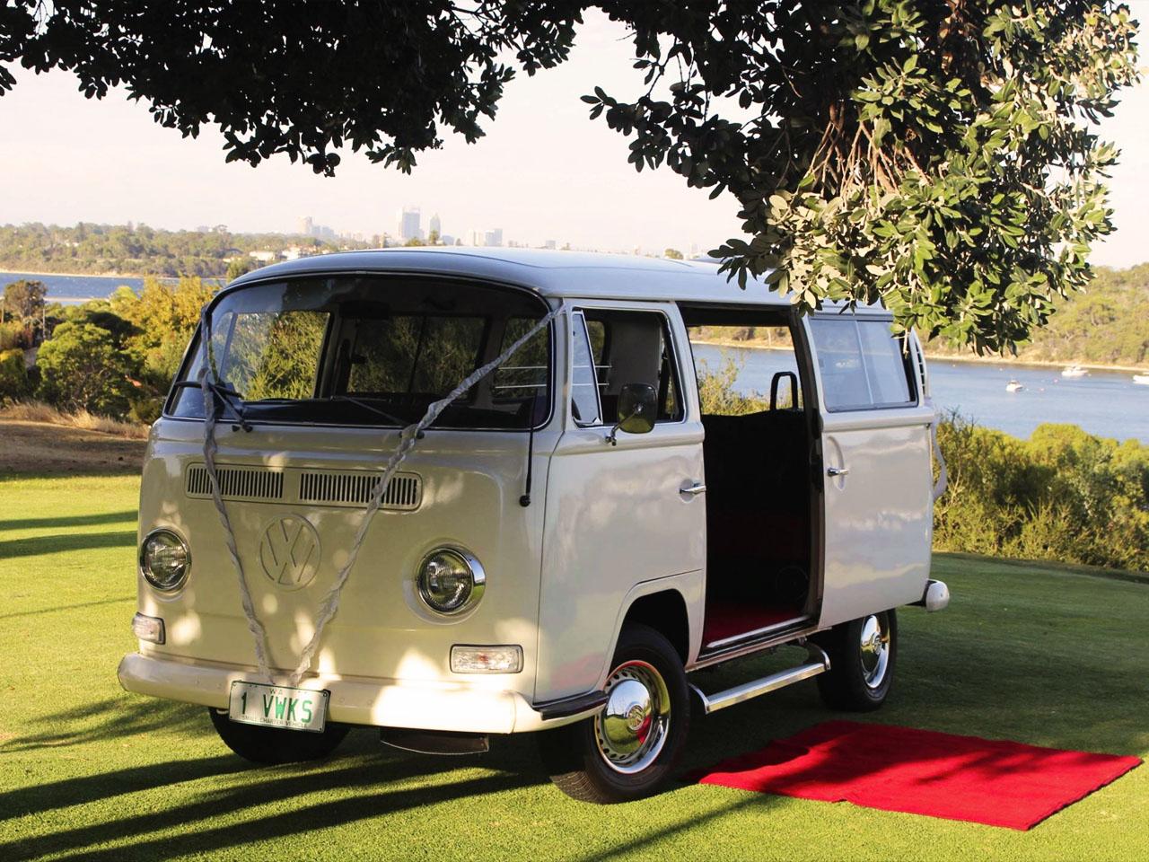 White Combi Van with Red Carpet