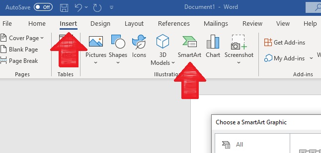This image shows where to click on the menu to find the Insert and SmartArt options on Microsoft Word