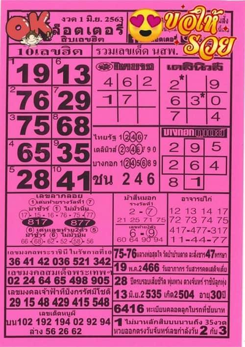 เลขเด็ด หวยซอง โอเค ล็อตเตอรี่ สิบเลขฮิต 1 มิถุนายน 2563